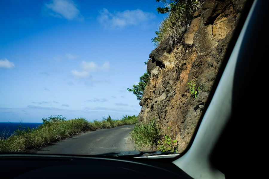 Driving on a scarily skinny cliff side road.